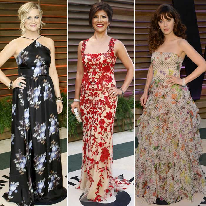 Frills and Florals – Zooey Deschanel, News anchor Julie Chen and actress Amy Poehler fail to impress. (AP/Reuters)