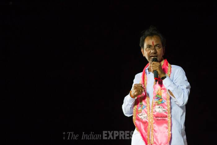 It's a warm evening at the Kalasala Ground in Karimnagar. K Chandrasekhara Rao, KCR garu to his supporters, wears the pink scarf of the Telangana Rashtra Samithi (TRS) over his signature whites and gets down to doing what he does best — giving his opponents a tongue-lashing.<br />K Chandrasekhar Rao, chief of Telangana Rastra Samithi, at a public meeting in Nalgonda. (IE Photo)