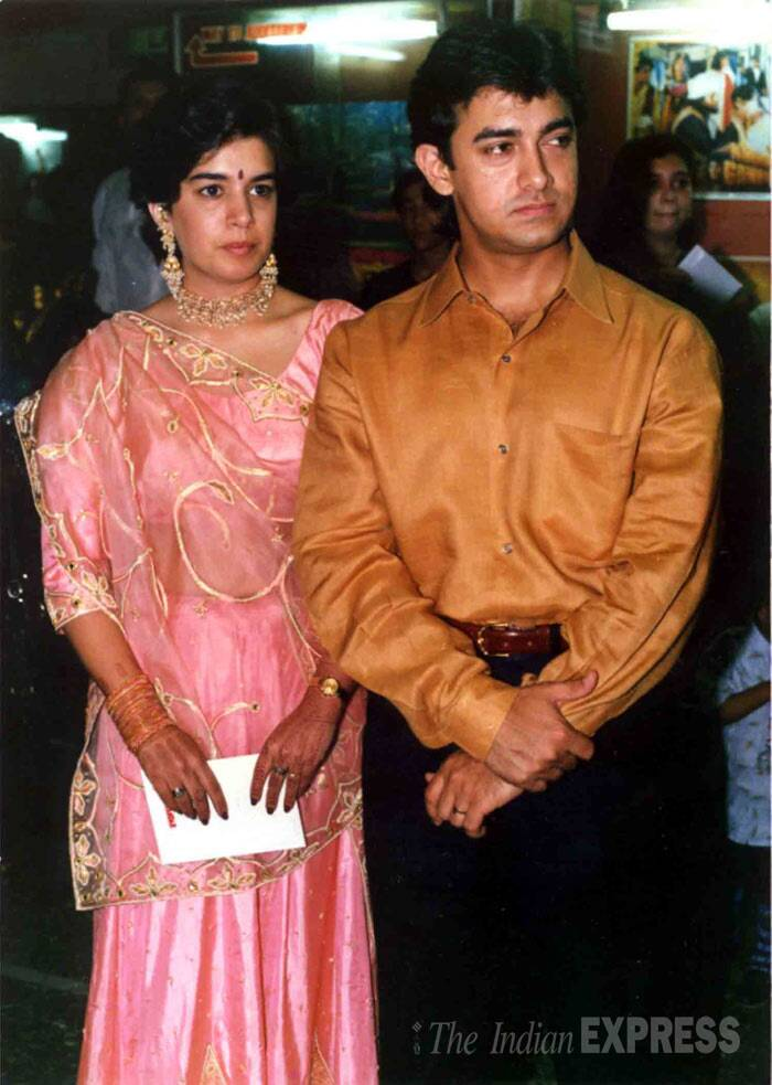 <b>Aamir Khan - Reena</b>: Aamir Khan eloped with his then childhood sweetheart Reena and got married but kept denying his marital status, until he became a star. The couple tied the knot on April 18, 1986. However, after 25 years of marriage, they got divorced. (Express Archive Photo)