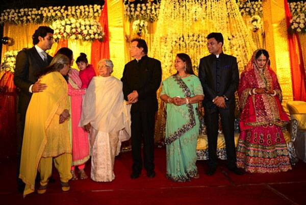 Jaya Bachchan chides her granddaughter Aaradhya at a wedding in Bhopal.