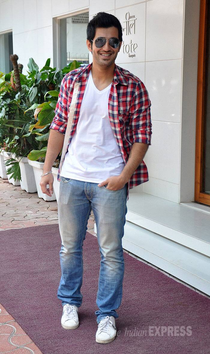 Aditya Seal, who will be playing the role of Sam in the film, also opted for a tee shirt, shirt denim look. (Photo: Varinder Chawla)