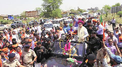 L K Advani on the roadshow in Gandhinagar Sunday. (Photo: Javed Raja)