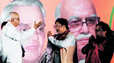 L K Advani greets Chandan Mitra, BJP's Lok Sabha candidate from Hooghly, at a rally in Bhadreswar, on Thursday. (Photo: Subham Dutta)