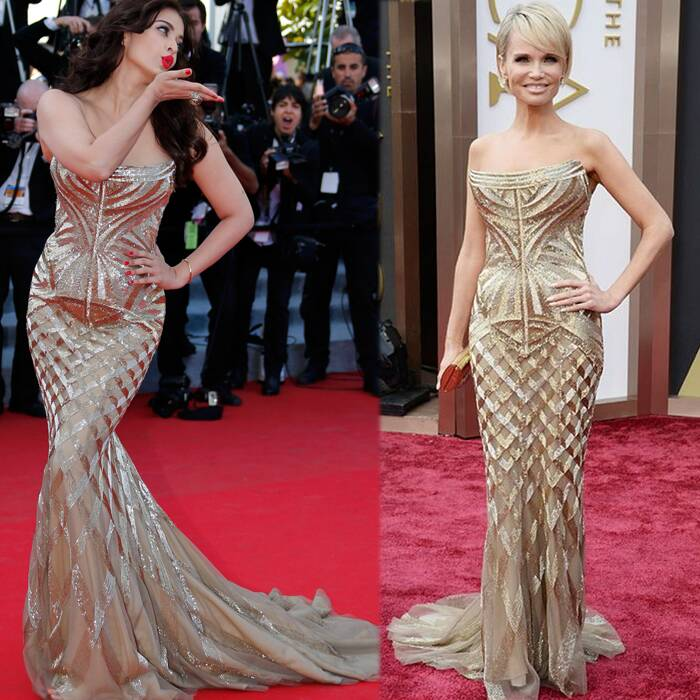 Bollywood actress Aishwarya Rai Bachchan has been garnering praise for her golden look at the cannes Film Festival this year. Everyone, including her husband Abhishek Bachchan, is going gaga over her look. But Ash's winner look has apparently been picked out from another actress' wardrobe. Broadway star Kristin Chenoweth wore the same gold strapless Roberto Cavalli gown to this year's Academy Awards. But, copycat or no copycat, Aishwarya looked beautiful!