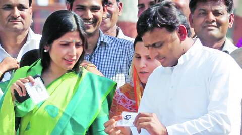 Uttar Pradesh Chief MInister Akhilesh Yadav along with wife and Kannauj MP Dimple Yadav and other faimly members after casting vote at Saifai on Wednesday. (Vishal Srivastav)