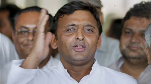 UP Chief Minister and Samajwadi Party leader Akhilesh Yadav addresses to press at Sardar Vallabhbhai Patel International Airport in Ahmedabad on Monday. (PTI)