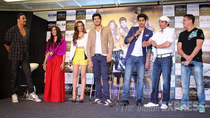 Three-time Olympian Vijender, who is making his Bollywood debut with 'Fugly', has some tips to share as his co-stars listen. (Photo: Varinder Chawla)