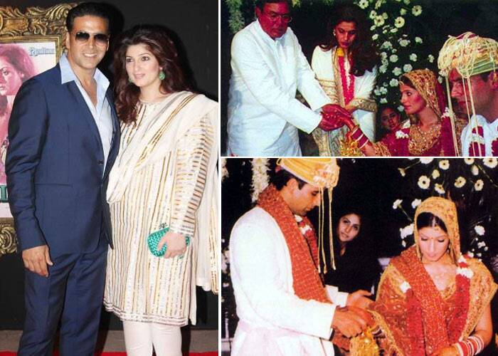 <b>Akshay Kumar – Twinkle Khanna</b>: In 2001, Bollywood's 'playboy' Akshay married Twinkle in a low-key ceremony. The affair was attended only by Rajesh Khanna, Dimple Kapadia and other close family members.