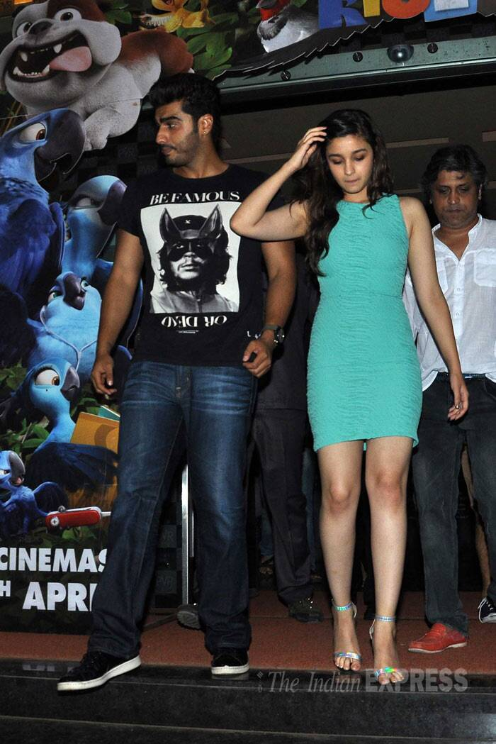 Alia and Arjun leave after their meet and greet session with fans at the movie hall. (Photo: Varinder Chawla)