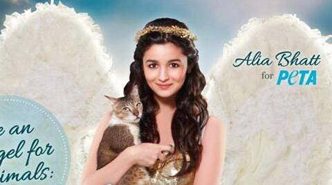 Alia Bhatt shot for a PETA ad campaign where she posed with a cat dressed as an angel.