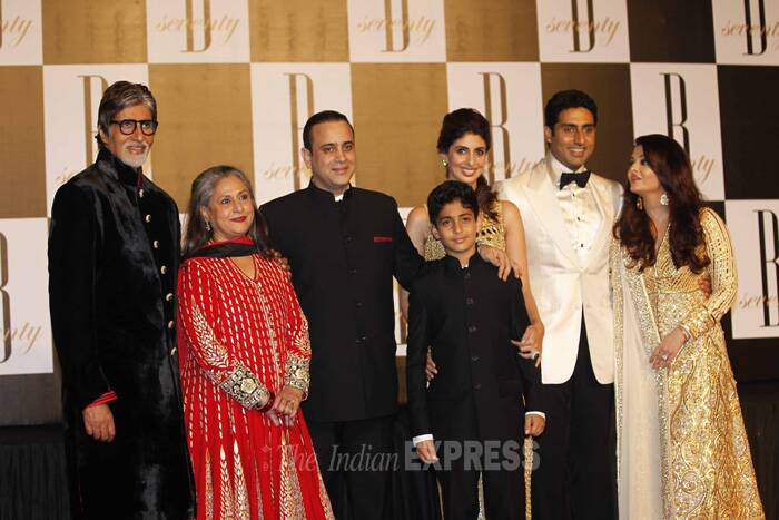 Family album: Amitabh and Jaya Bachchan with daughter Shweta Nanda, son-in-law Nikhil Nanda, grandson Agastye along with son Abhishek Bachchan and daughter-in-law Aishwarya Rai on the 70th birthday bash of Big B on October 11. (Express archive photo)