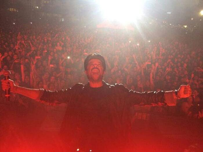 "Mr. India, Anil Kapoor seems to be having a blast on stage. The actor posted a picture of himself at Tampa Bay with the caption, ""The madness in Tampa begins!"" (Photo: Twitter)"