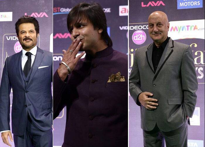 Bollywood actors Anil Kapoor, Vivek Oberoi and Anupam Kher upped the style quotient on the green carpet. (Photo: twitter)