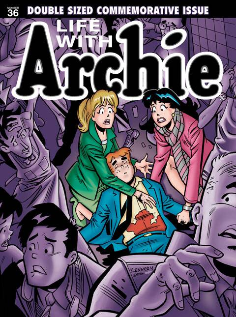"This photo released by Archie Comics shows ""Life with Archie."" Archie Comics says the famous comic book character will heroically sacrifice himself while saving the life of a friend in a July 2014 installment of ""Life with Archie."" The comic book series tells the story of grown-up renditions of Archie and his Riverdale pals. (AP)"