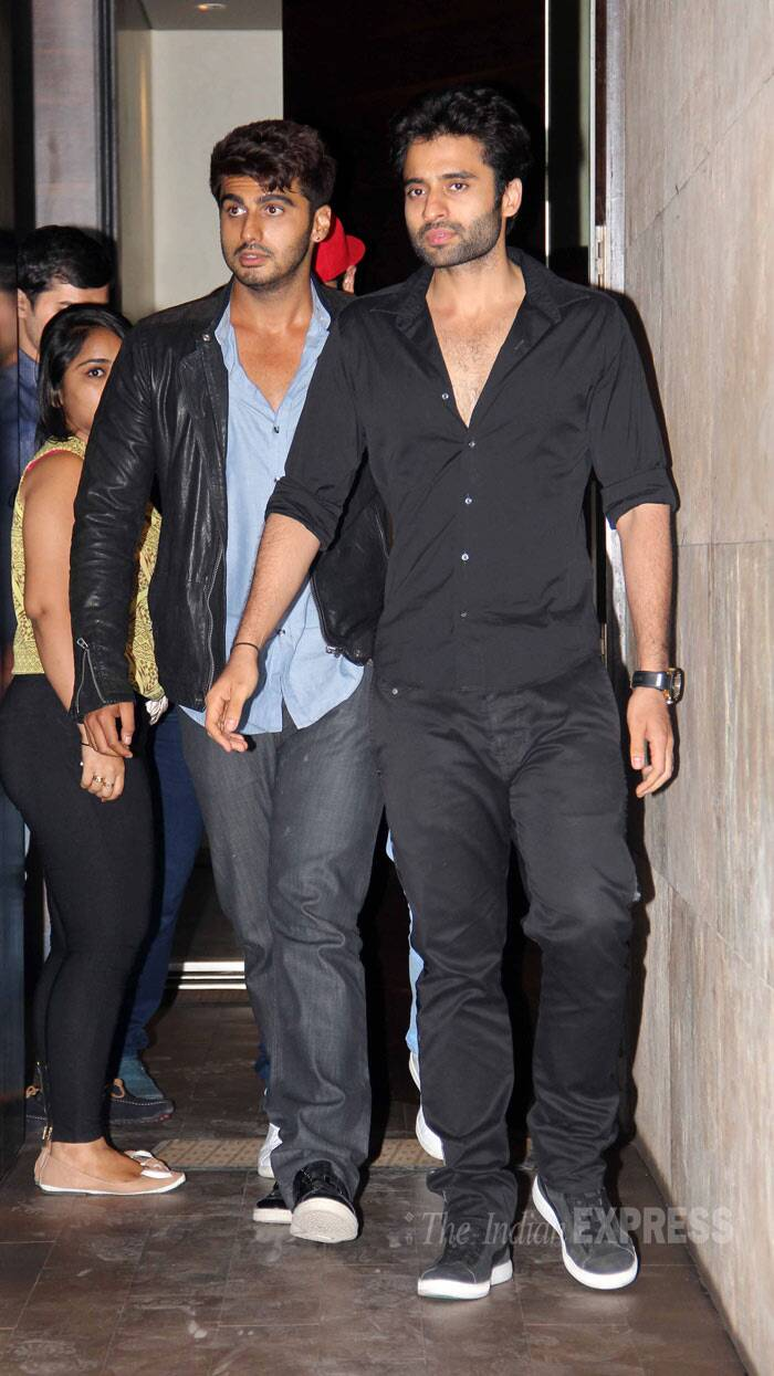 The hunks - Arjun and Jackky make their entrance at the venue. (Photo: Varinder Chawla)