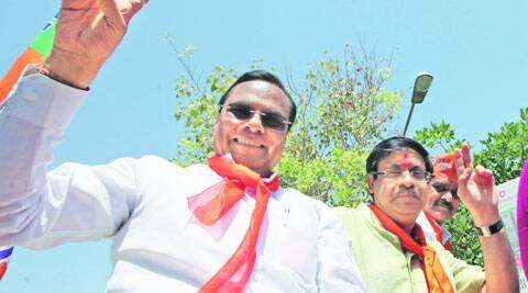 L K Advani's son Jayant and former MP Harin Pathak in Ahmedabad on Friday. (Javed Raja)