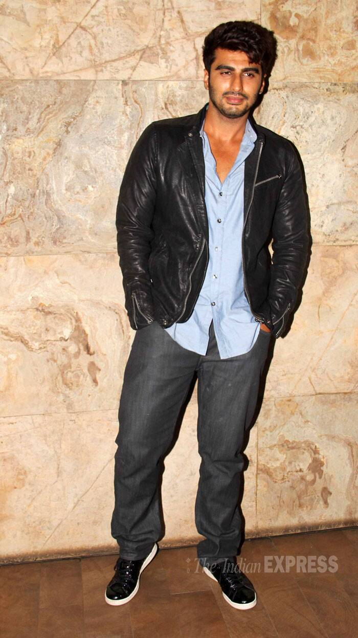 Arjun Kapoor, who is gearing up for the release of his next film '2 States', wore a dark leather jacket with a shirt and denims to the screening. (Photo: Varinder Chawla)