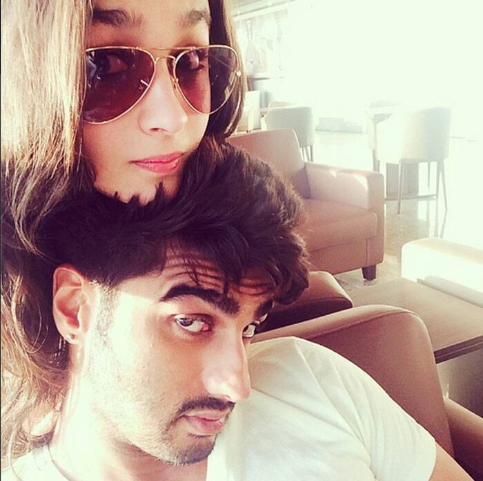 Here's another one! '2 States' actors and rumoured couple  Arjun Kapoor and Alia Bhatt are on a selfie spree. Alia and Arjun clicked another selfie together and posted it on Instagram. While Arjun showed off his straight, tough looks, Alia looked cute.