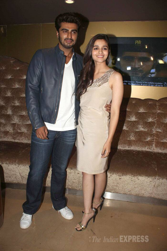 '2 States' couple Alia Bhatt and Arjun Kapoor pose together while promoting their film in Mumbai. (Photo: Varinder Chawla)