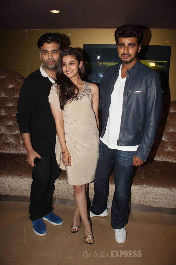 Filmmaker Karan Johar joins the on screen couple. (Photo: Varinder Chawla)