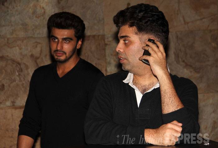 Men In Black: Karan Johar and Arjun Kapoor. (Photo: Varinder Chawla)