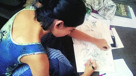 Sunandita Mehrotra with her illustrations.