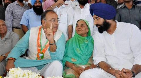 BJP candidate Arun Jaitley during an election campaign rally in Amritsar on Thursday. (PTI)
