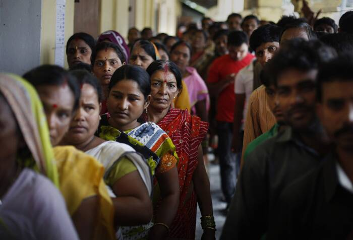 With 6.5 lakh first time voters registered this time, long queues were seen in front of the polling booths. (AP)