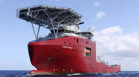 The Australian Defense vessel Ocean Shield tows a pinger locator in the first search for the missing flight data recorder and cockpit voice recorder in the southern Indian Ocean. (AP)