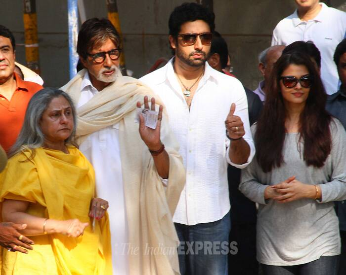 Aishwarya Rai Bachchan and her husband Abhishek also cast their vote in Mumbai just a few hours before the polling came to an end. <br /><br /> Earlier in the day, Aamir Khan, his wife Kiran, son Junaid and Sonam Kapoor and Farhan Akhtar had exercised their franchise. (IE Photo: Amit Chakravarty)