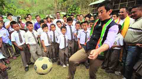 Bhaichung Bhutia entertains a young audience at Potong village.Subham Dutta