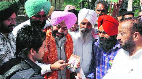 Gurkirat Kotli while campaigning in Atam Nagar on Thursday. (Express)
