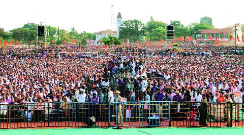 A huge crowd at a Modi rally in Mangalore in February. (Express file)