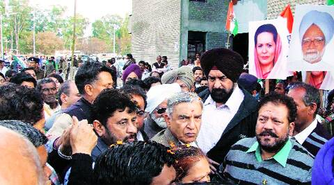 Pawan Bansal and other leaders during padyatra at Dhanas in Chandigarh on Sunday.