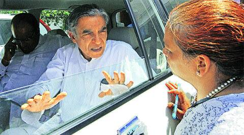 Pawan Kumar Bansal in Sector 28 on Wednesday. (Photo: Sumit Malhotra)