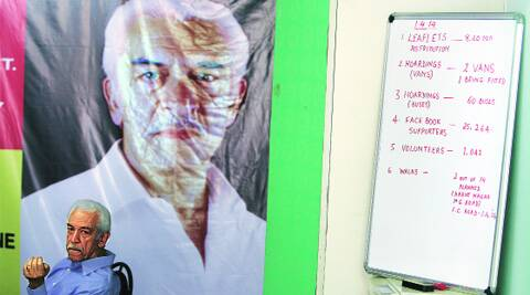 People's Guardian Party candidate Arun Bhatia at his campaign office in Camp. (Photo: Arul Horizon)