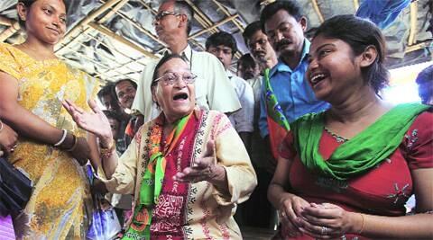 BJP nominee Nimu Bhowmik campaigns at Chandtitala, Raiganj, Wednesday.  (Photo: Partha Paul )