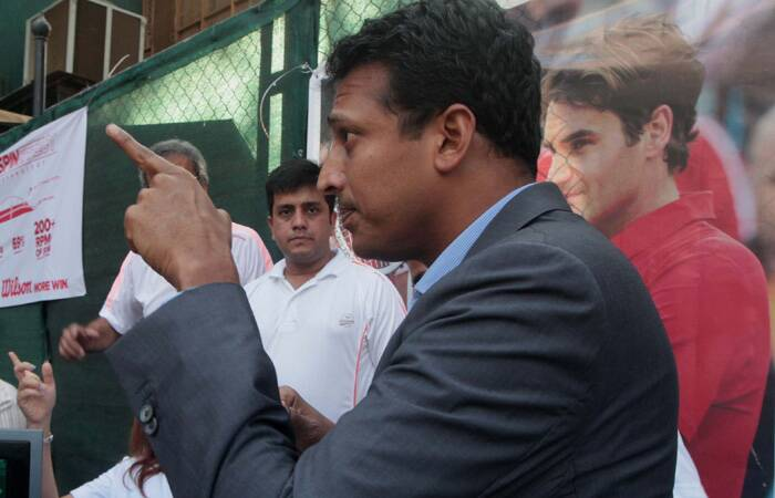 Mahesh Bhupathi at the launch event at CCI court, Churchgate. (Express photo: Kevin DSouza)