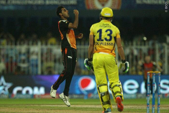 Bhuvneshwar Kumar, after removing Smith, got rid of Faf du Plessis, who didn't trouble the scorers in the middle. But with not enough runs to play with, CSK were always favourites in this contest (Photo: BCCI/IPL)