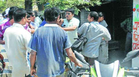 Trinamool supporters attack EC officials in Manikchak area under South Malda constituency, on Thursday. (PTI)