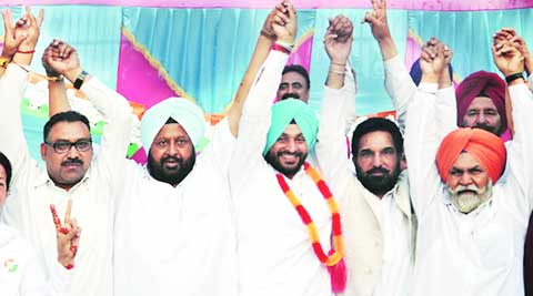 Pawan Dewan with Congress candidate Bittu at Jodhewal Basti. (Express)