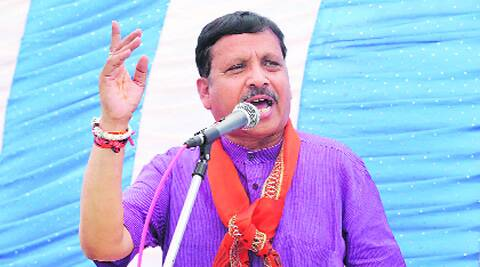 BJP's Chhota Udepur candidate Ramsinh Rathwa addresses a gathering in Waghbor Wednesday. (Photo: Bhupendra Rana)