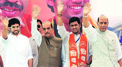 Yuva Sena chief Aditya Thackeray, Sena leader Manohar Joshi and party candidate Srikanth Shinde with BJP president Rajnath Singh on Thursday