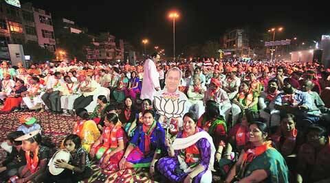 The crowd at a rally addressed by senior BJP leader  L K Advani in East Delhi on Friday. (Amit Mehra)