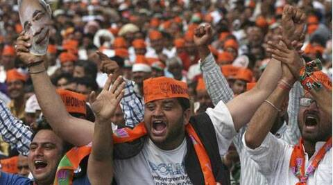 Supporters of Hindu nationalist Narendra Modi, prime ministerial candidate for India's main opposition Bharatiya Janata Party (BJP). (Reuters)