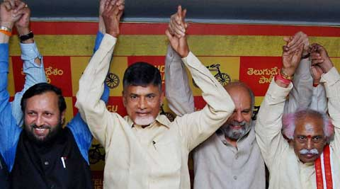 TDP chief N Chandrababu Naidu announced the alliance with the BJP. (PTI Photo)