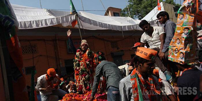 A BJP candidate holds an election roadshow in Barielly, Uttar Pradesh. (IE Photo: Tashi Tobgyal)