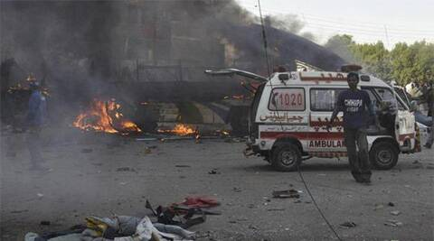 Geo channel reported that at least 10 vehicles, six rickshaws and many motorcycles were completely destroyed in the blast. (Reuters)