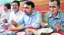 Anil Shirole, Vishwajeet Kadam and Subhash Ware met for a breakfast chat at Wadeshwer on Wednesday.(Pranav Singh)