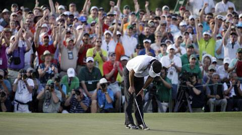 Bubba Watson reacts after winning the Masters golf tournament Sunday (AP)